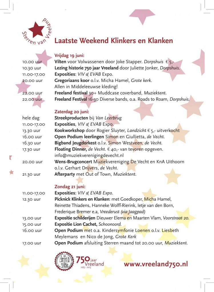1STERREN Program Klinkers & Klanken laatste weekend A5